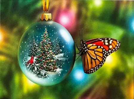 Butterfly Christmas 3D And CG Amp Abstract Background