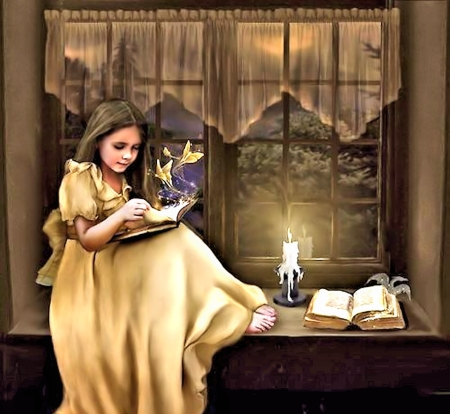 Magical - Magic, Candle, Girl, Window