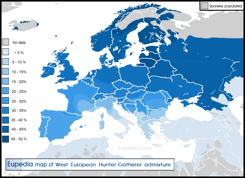 Distribution of the West European Hunter-Gatherer (WHG) admixture in and around Europe
