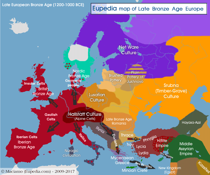 Map of late Bronze Age cultures in Europe between 1200 and 1000 BCE - Eupedia