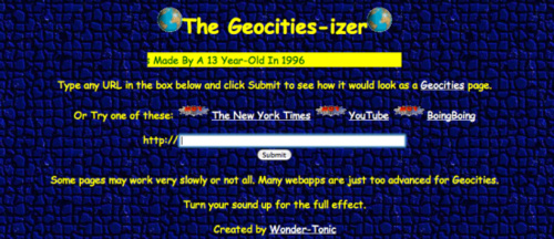 Geocities-izer Transports Websites To the Halcyon Days of 1996