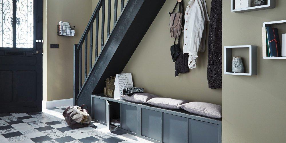 couloir entree escalier rangement chaussure banc entree castorama