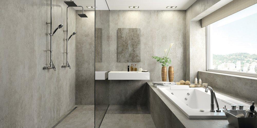 ouverte sur la salle de bains pratique et design la douche italienne s adapte a tous les styles carrelage faience enduit beton colore