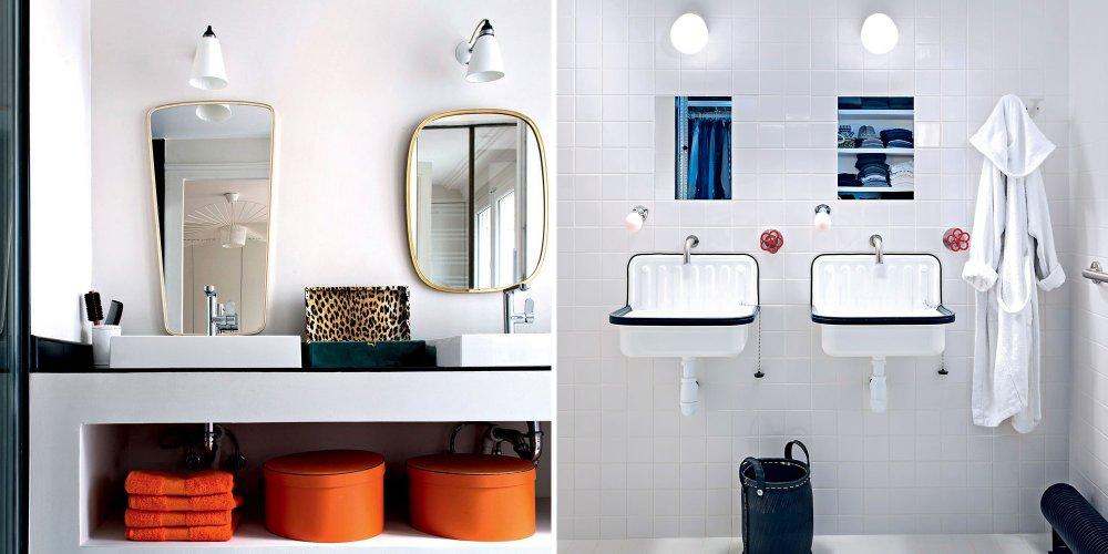 salle de bains blanche au look retro