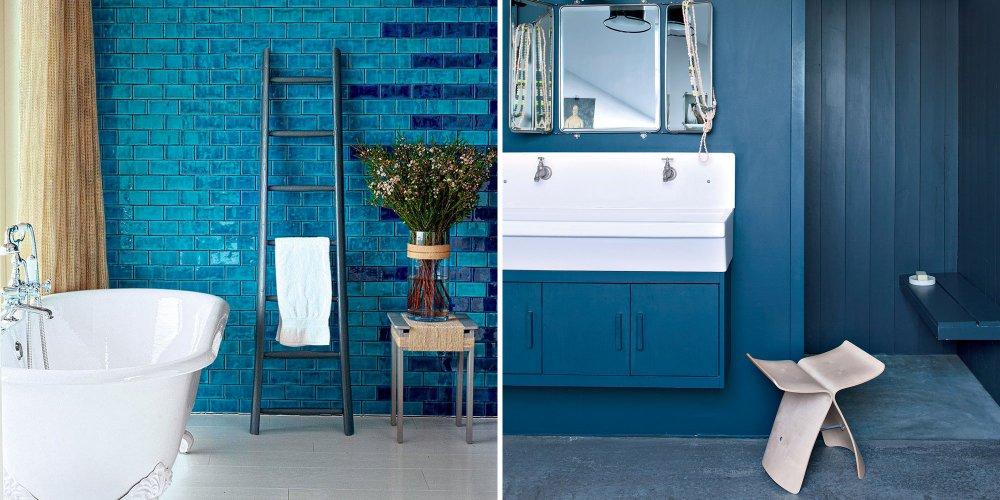 salle de bains bleue design toutes