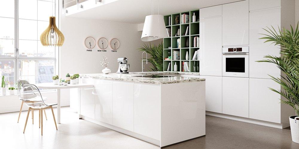 contemporaine futuriste esprit laboratoire industrielle inspiration mediterraneenne la cuisine blanche joue avec tous les styles