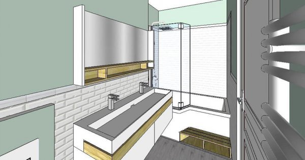 agencement de salle de bain de 6m2