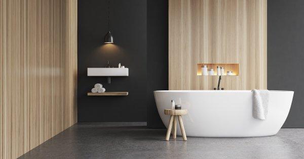 beton cire dans une salle de bains le