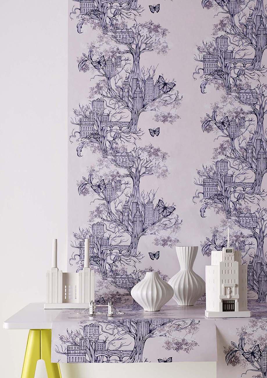 papier peint graham brown urban tree lilac