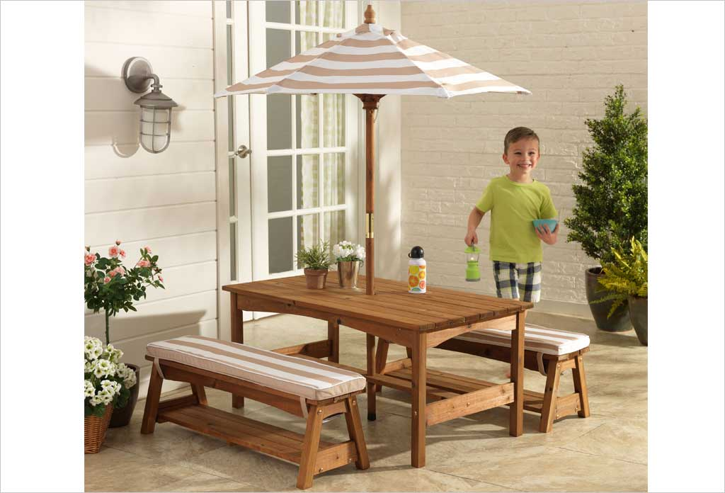table de jardin enfant parasol kidkraf