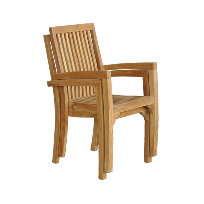 lot de 2 fauteuils de jardin en teck