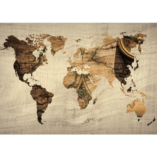 tableau metal carte du monde nature