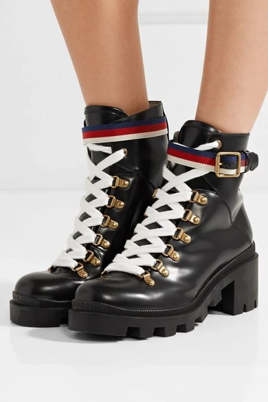 Gucci Grosgrain Trimmed Leather Ankle Boots