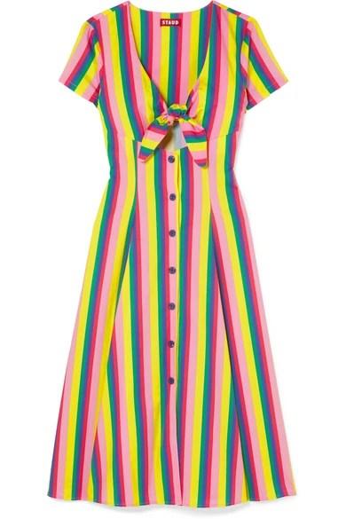 staud striped tie front dress