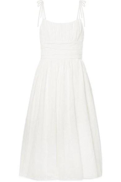 Cotton Midi Tie Shoulder Dress