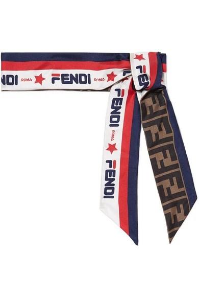 FENDI Frayed printed silk-twill scarf$170