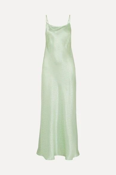 RIXO Holly Polka Dot Silk Charmeuse Jacquard Dress