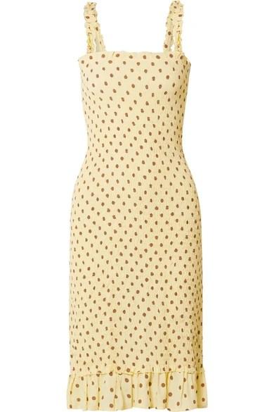 Faithfull the Brand Nadine Smocked Polka Dot Crepe Midi Dress