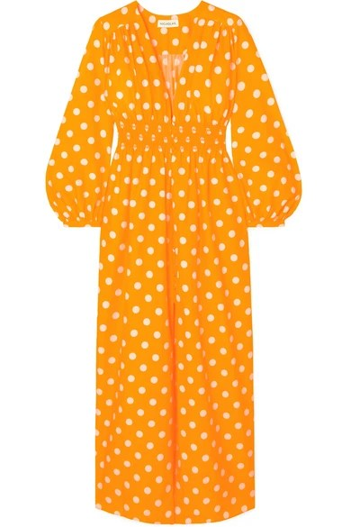 Nicholas Smocked Polka Dot Cotton Silk Blend Maxi Dress