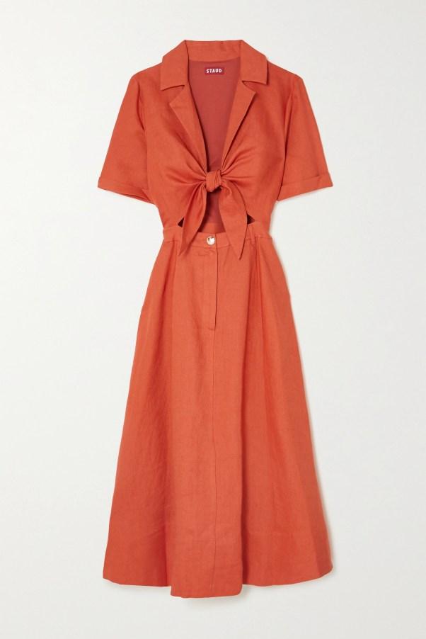 STAUD Giorgiana cutout linen midi dress