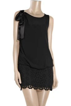 Moschino Cheap and Chic Chiffon and lace mini dress