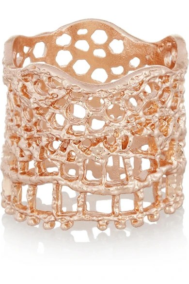 Rose Gold Dipped Lace Ring