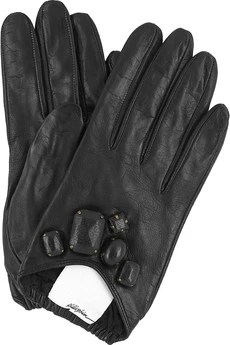 Jeweled Leather Gloves