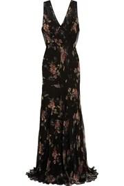 Floral-print lace-appliquéd georgette maxi dress