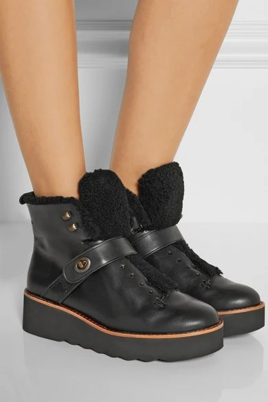 Coach Urban Hiker Shearling Trimmed Leather Boots