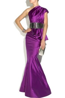 Oscar de la Renta Pleated duchess satin gown