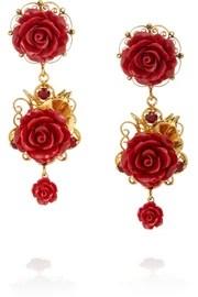 Dolce & GabbanaBoucles d'oreilles clip en plaqué or, cristaux et résine