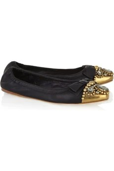 Miu Miu Crystal-embellished leather flats
