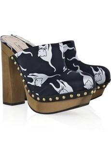 Miu MiuCat-print satin clog sandals