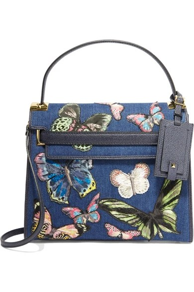 Valentino Rock Stud Embroidered Denim and Textured Leather Tote