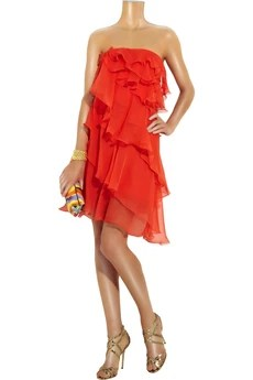 Halston Ruffle-tier silk-chiffon dress