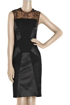 Antonio Berardi Paneled silk and lace dress