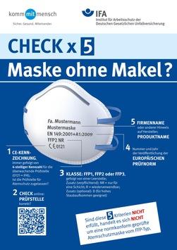Maske ohne Makel? / IFA hilft beim Check geeigneter Atemschutzmasken