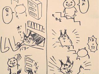 「エサをあげる前はスリスリ…食べたとたんガブッ!」理不尽な猫の躍動感あふれる漫画に思わず笑っちゃう