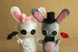Image of Custom Bunny Wedding Cake Toppers