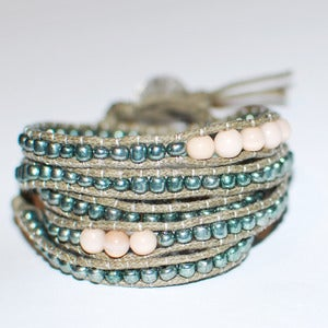 Image of Greek Crystal and Silver Beads Wrap Bracelet