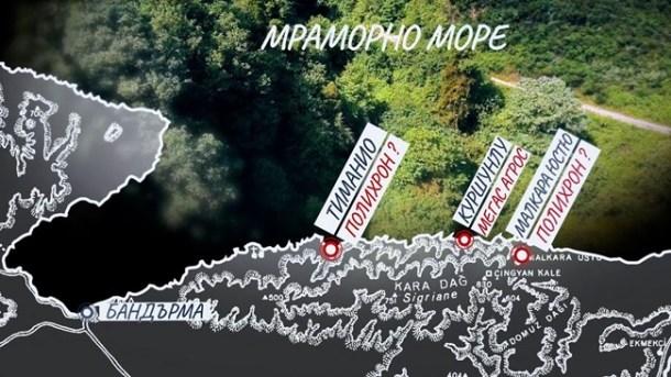 """Картата, която показва евентуалното място на манастира """"Полихрон"""""""