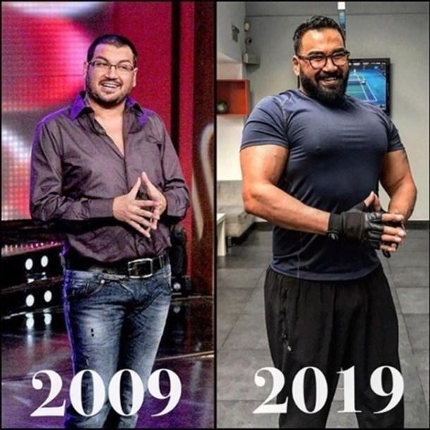 За десетилетие Азис е претърпял голяма физическа трансформация. Тренировките във фитнеса са премахнали коремчето.