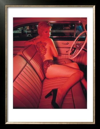 Pin-Up Girl: Pink Tattoo Framed Art Print