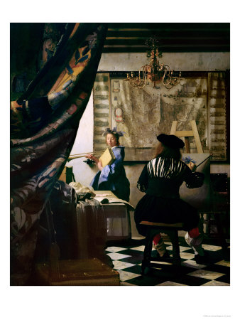 Renaissance painter Jan Vermeer, dressed in black, paints a young woman in a blue dress and blue hat standing near a table who holds a trumpet and a book. Heavy tapestries are on the walls and a rug with black and white diamond patterns is on the floor.