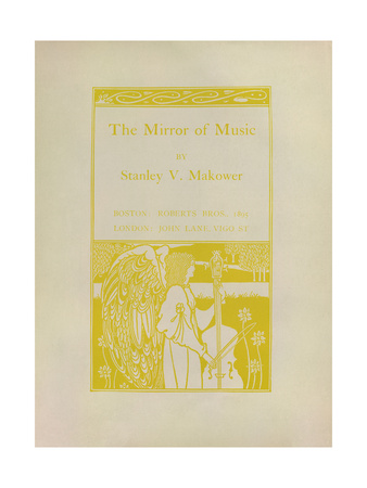 Cover of the book <cite>The Mirror of Music</cite>, by Stanley V. Makower, showing an angel drawn in Secession style playing a large viol.