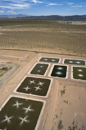 aerial photograph of sewage treatment plant