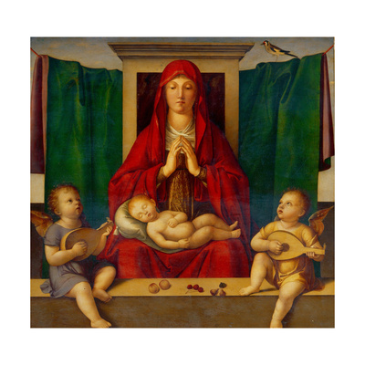 Renaissance-style Madonna in red dress, hands steepled, with sleeping infant Jesus on her lap, flanked by two cherubs playing small-scale lutes and green cloth hanging on a line. A bird is perched on top of the green cloth to the Madonna's left.