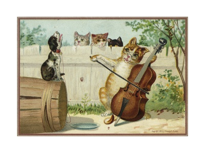 Outdoors scene, cat plays violoncello while three other cats look on from behind a fence. A howling dog sits on a barrel turned sideways.