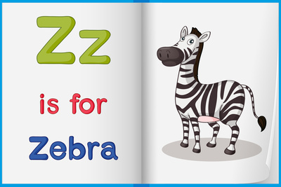 "book - left-hand page shows light green capital and small letter Z, red "" is for "" blue zebra, right-hand page shows picture of zebra"