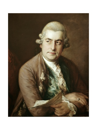 Johann Christian Bach in powdered wig, looking right and holding music in left hand; arms crossed, brown jacket with green vest